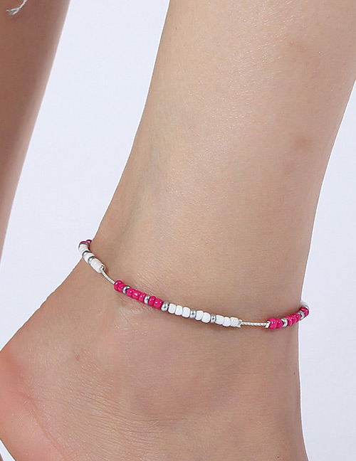 Elegant Plum Red+white Beads Decorated Color Matching Anklet