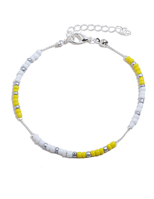 Elegant Yellow+white Beads Decorated Color Matching Anklet