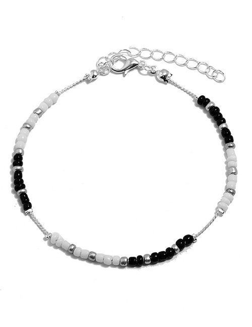 Elegant Black+white Beads Decorated Color Matching Anklet
