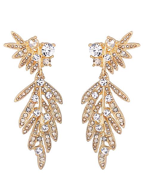 Elegant Gold Color Leaf Shape Decorated Pure Color Earrings