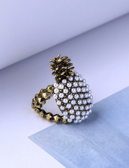 Elegant Gold Color+white Pineapple Shape Design Simple Ring