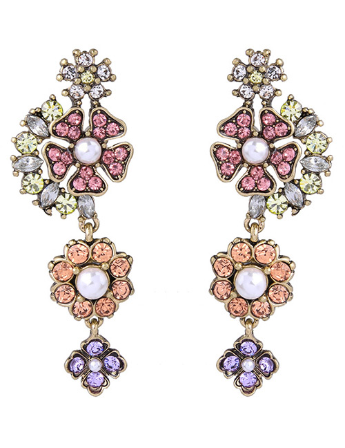 Elegant Multi-color Flowers Shape Decorated Long Earrings