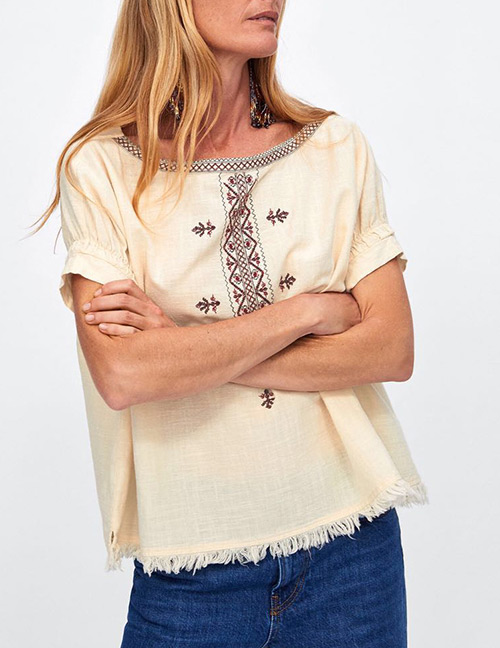 Fashion Beige Embroidery Flower Pattern Decorated Blouse