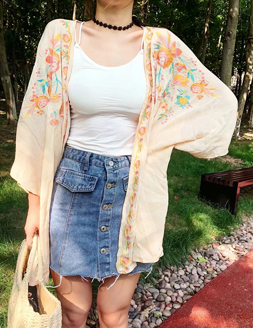 Fashion Beige Flower Pattern Decorated Shawl