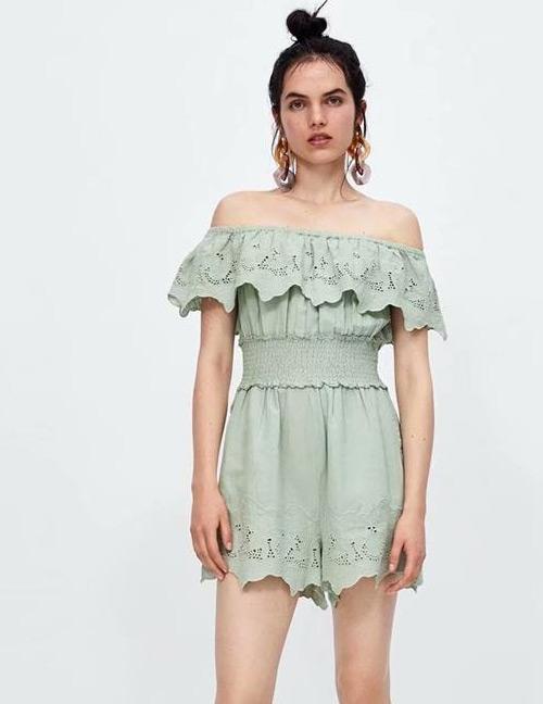 Fashion Green Off-the-shoulder Design Pure Color Jumpsuit