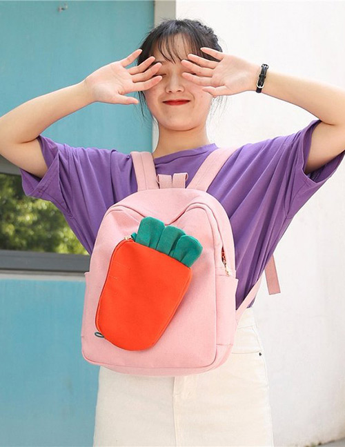 Fashion Pink Carrot Shape Decorated Backpack(2pcs)