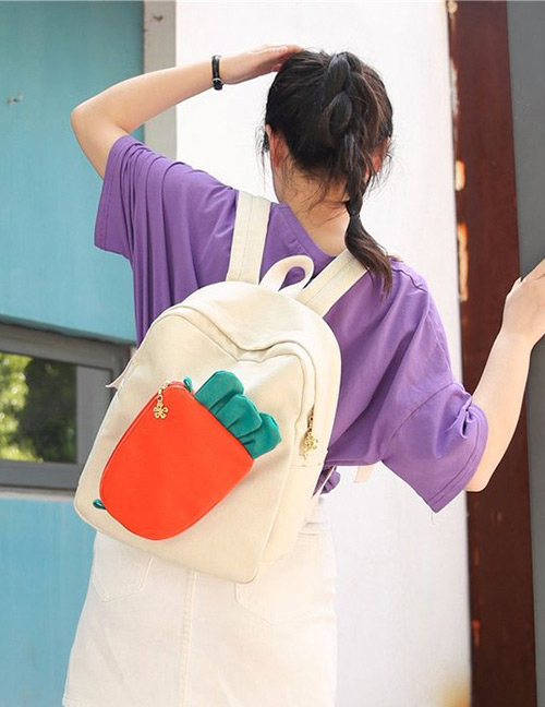 Fashion Beige Carrot Shape Decorated Backpack(2pcs)
