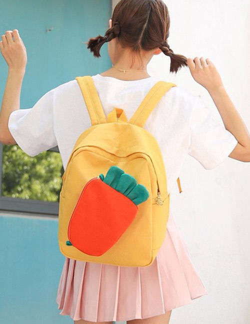 Fashion Yellow Carrot Shape Decorated Backpack(2pcs)