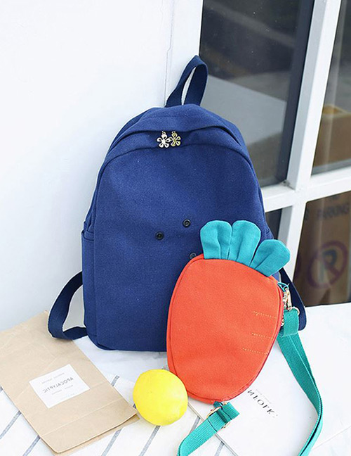 Fashion Blue Carrot Shape Decorated Backpack(2pcs)