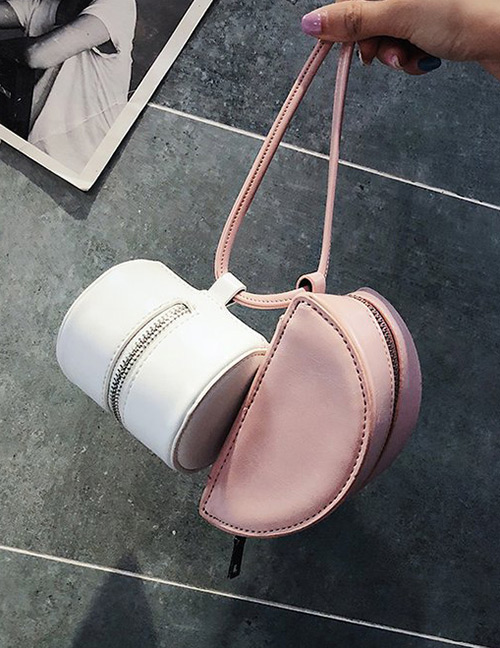 Fashion White+pink Color-matching Decorated Bag