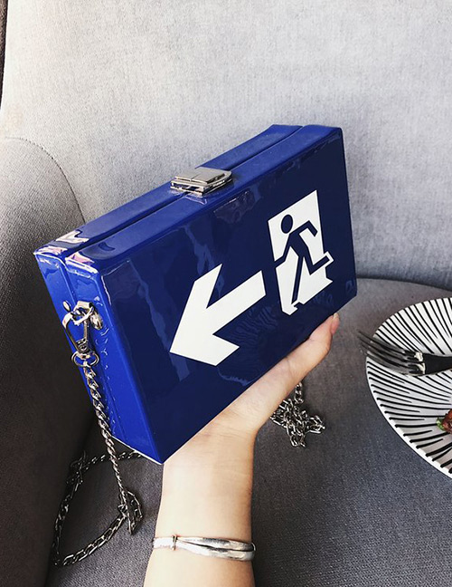 Fashion Sapphire Blue Square Shape Decorated Bag