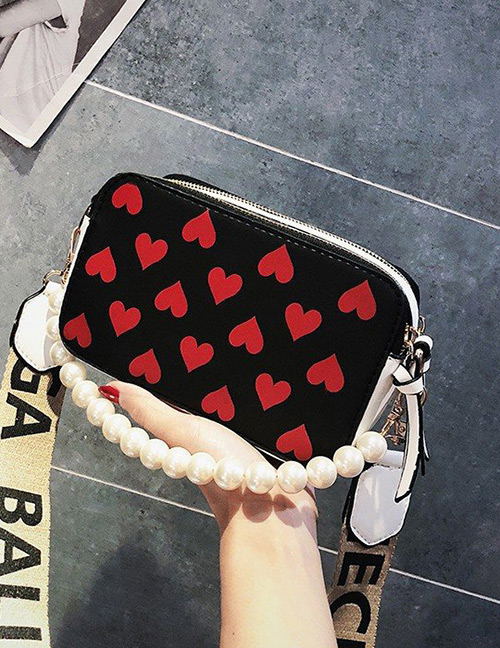 Fashion Black Heart Pattern Decorated Bag