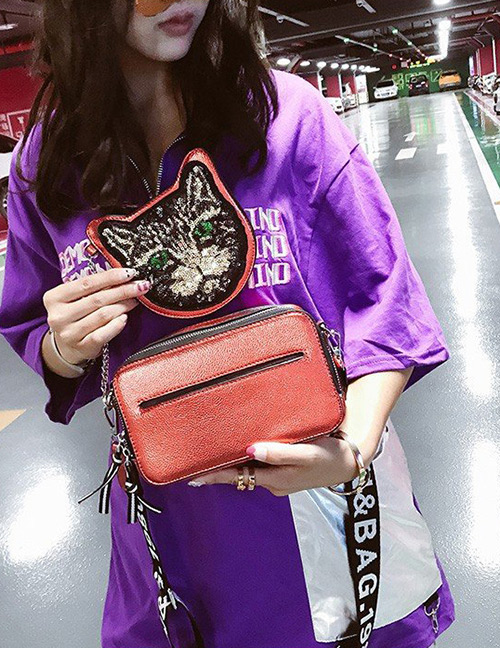 Fashion Red Cat Shape Decorated Bag