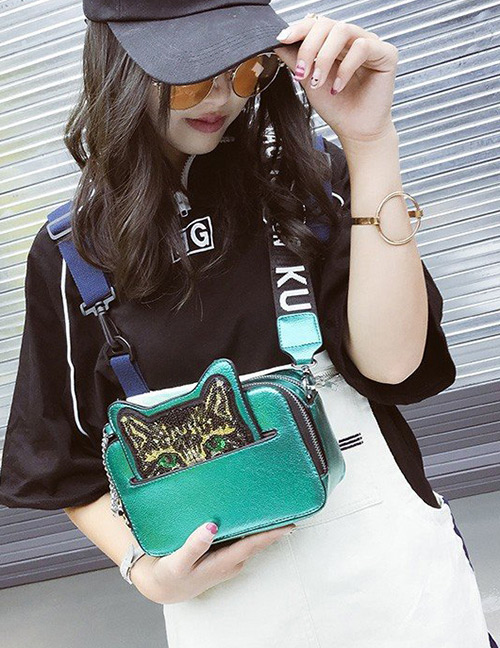Fashion Green Cat Shape Decorated Bag