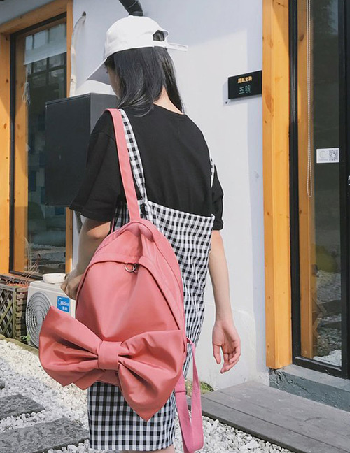 Fashion Red Bowknot Shape Decorated Backpack