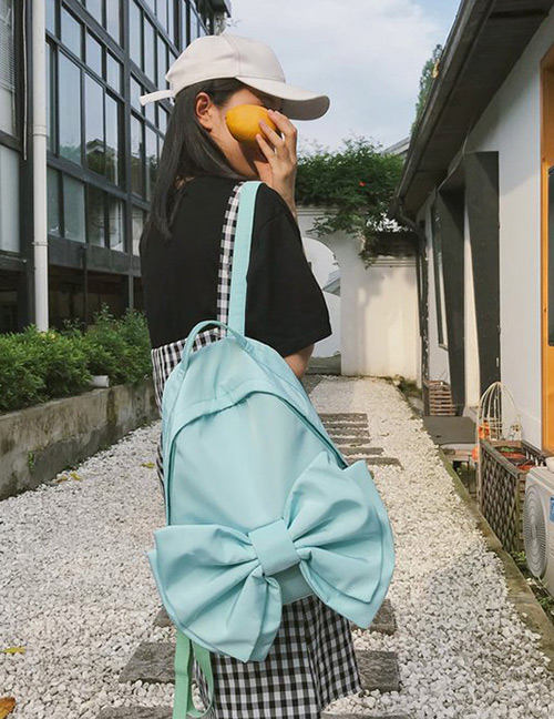 Fashion Blue Bowknot Shape Decorated Backpack