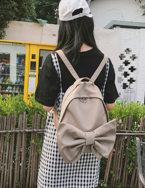 Fashion Khaki Bowknot Shape Decorated Backpack