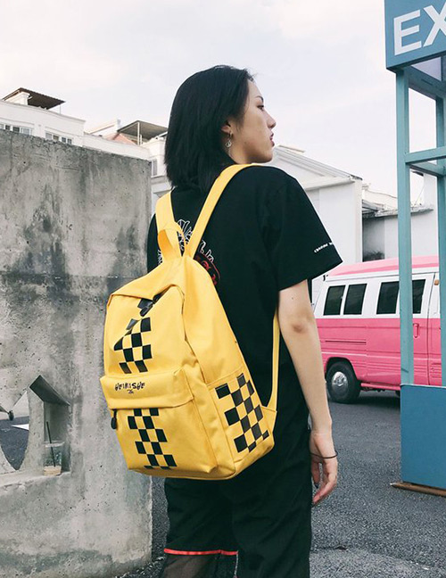Fashion Yellow Grids Pattern Decorated Backpack