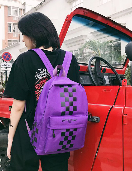 Fashion Purple Grids Pattern Decorated Backpack