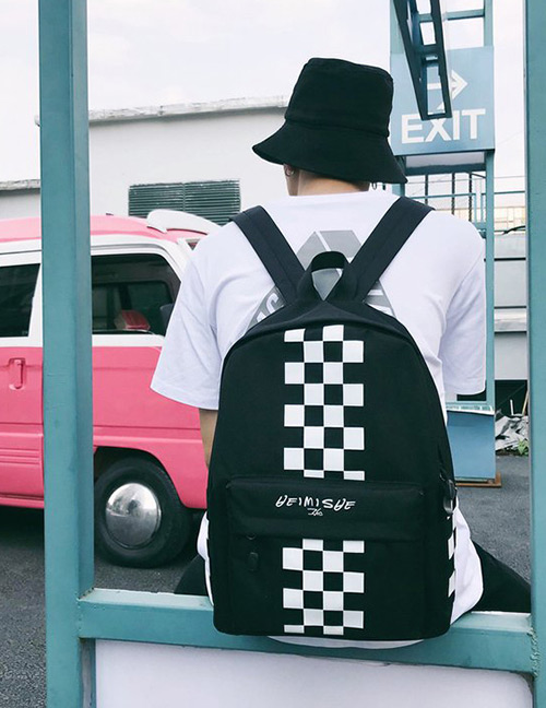 Fashion Black Grids Pattern Decorated Backpack