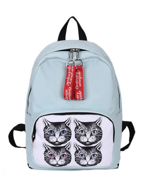 Fashion Light Blue Cat Pattern Decorated Backpack