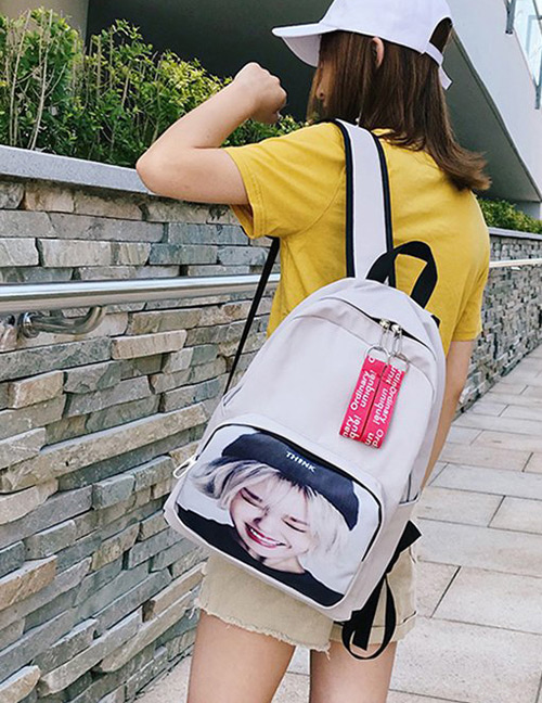 Fashion Beige Portrait Pattern Decorated Backpack