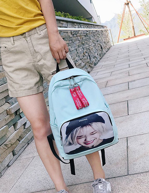 Fashion Light Blue Portrait Pattern Decorated Backpack