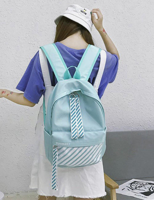 Fashion Green Stripe Pattern Decorated Backpack