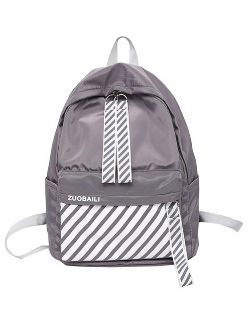 Fashion Gray Stripe Pattern Decorated Backpack