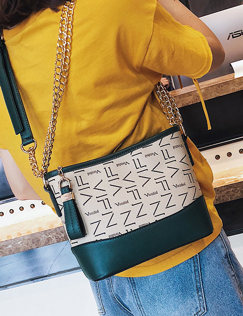 Fashion Green Color-matching Decorated Bag