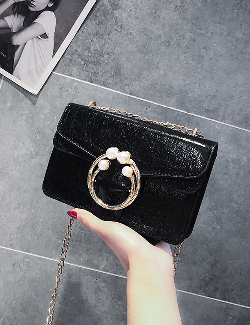 Fashion Black Round Shape Decorated Bag