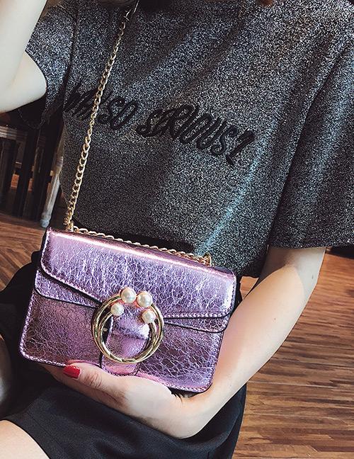 Fashion Purple Round Shape Decorated Bag
