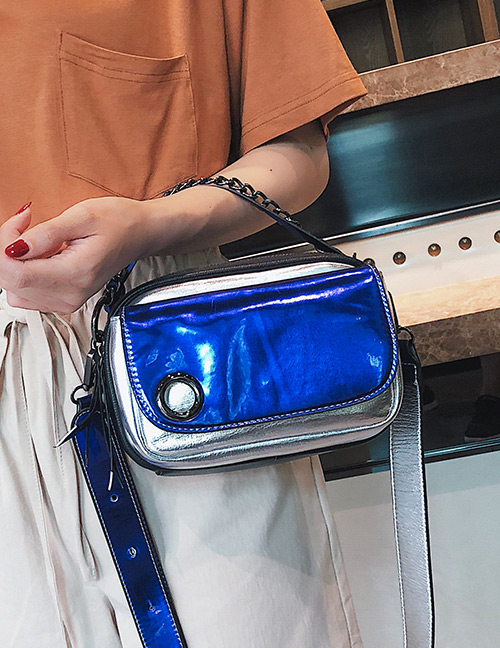 Fashion Blue+silver Color Color-matching Decorated Bag