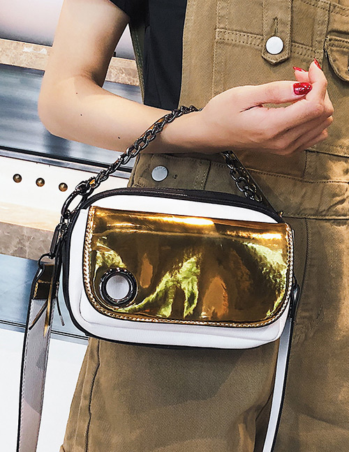 Fashion Yellow+white Color-matching Decorated Bag