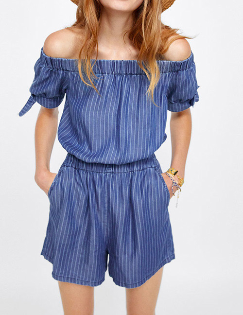 Fashion Blue Stripe Pattern Decorated Jumpsuit