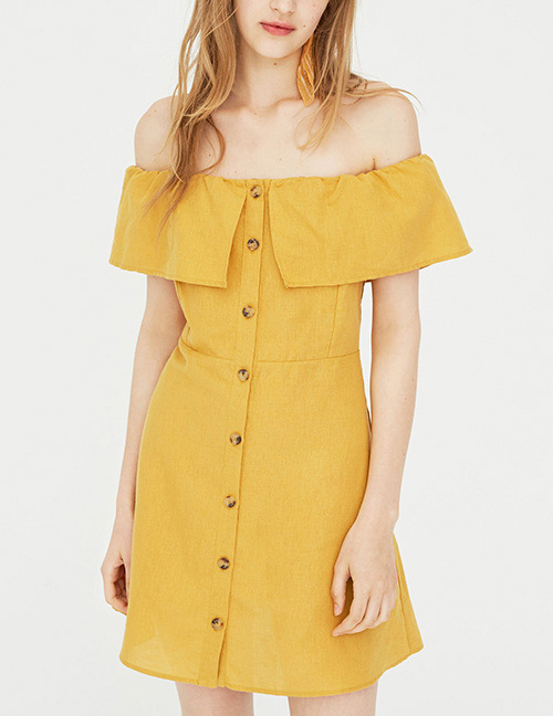 Fashion Yellow Pure Color Decorated Strapless Dress