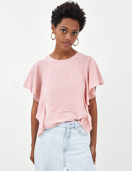 Fashion Red Stripe Pattern Decorated Blouse