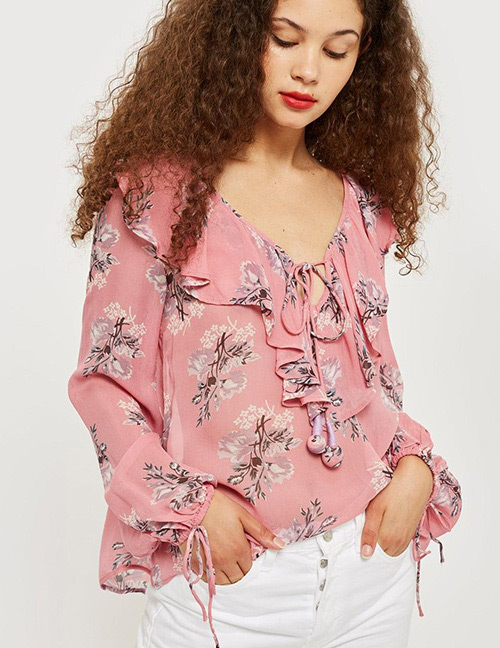 Fashion Pink Flower Pattern Decorated Blouse