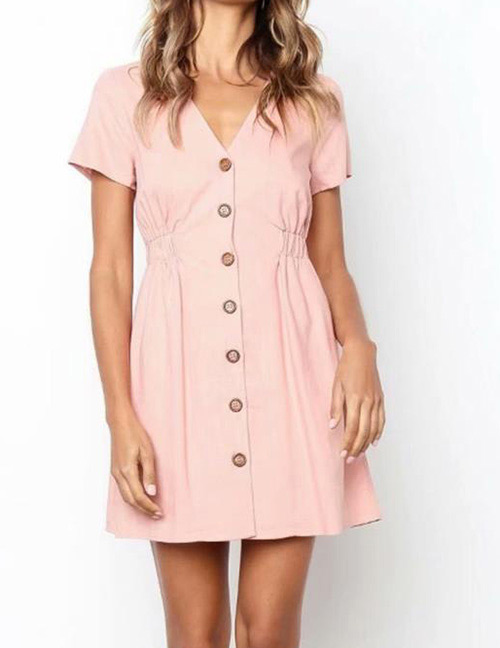 Fashion Pink V Neckline Design Pure Color Dress