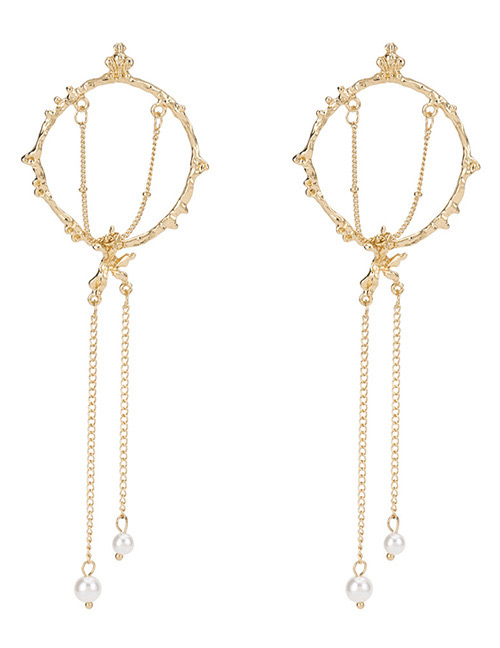 Fashion Gold Color Round Shape Decorated Tassel Earrings