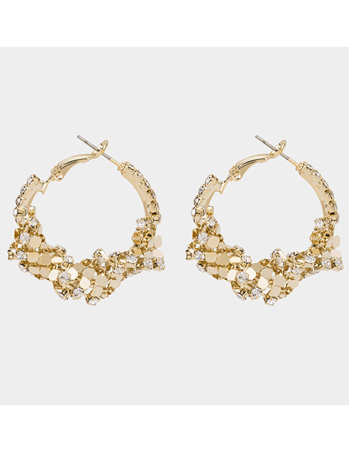 Fashion Gold Color Paillette Decorated Earrings