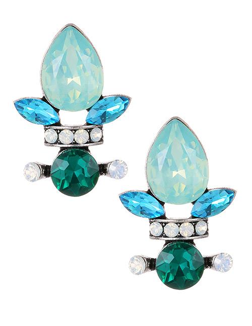Fashion Green Waterdrop Shape Decorated Earrings