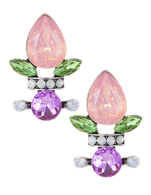 Fashion Pink Waterdrop Shape Decorated Earrings