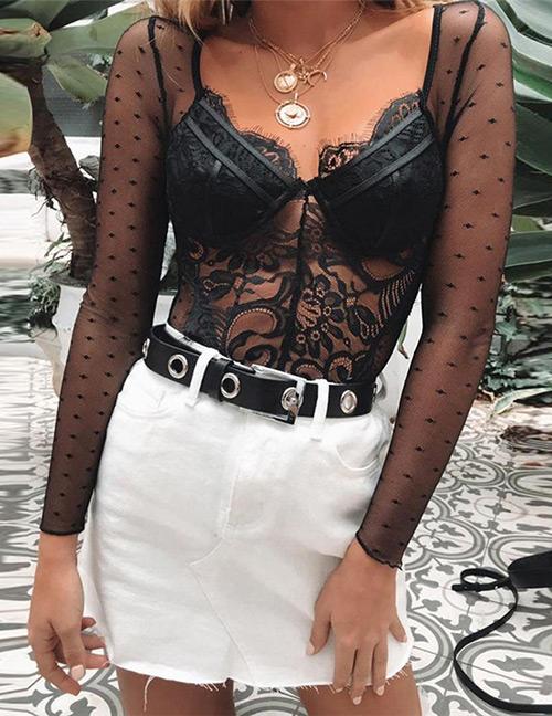 Sexy Black Hollow Out Design Pure Color Jumpsuit