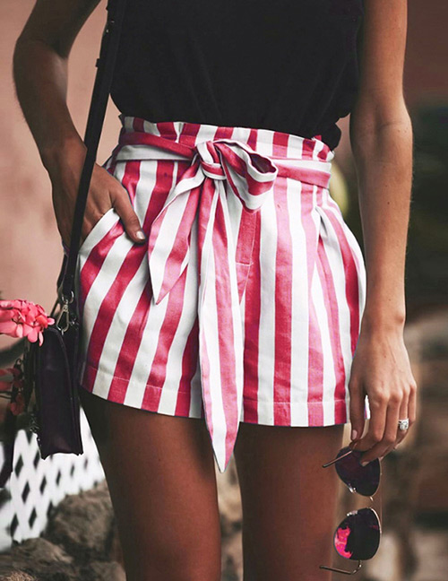 Fashion Red Stripe Pattern Decorated Pants