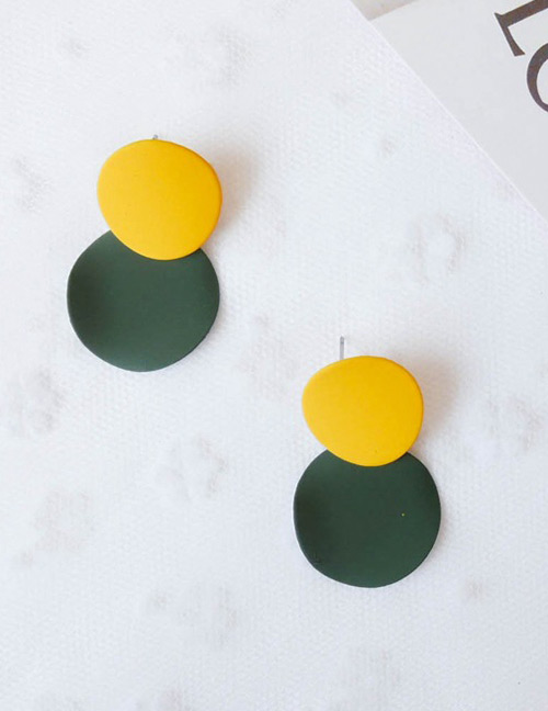 Fashion Yellow+green Round Shape Decorated Earrings