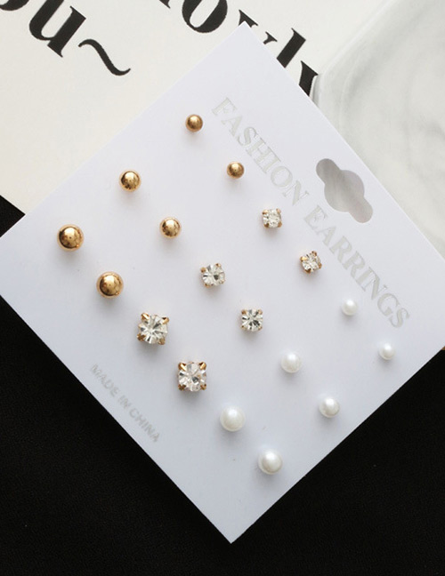 Fashion Gold Color Round Shape Decorated Earrings(9 Pcs)