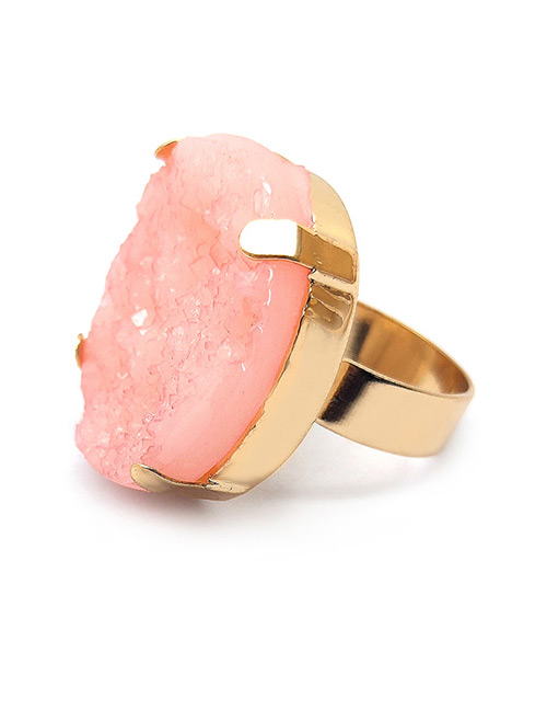 Fashion Pink Round Shape Decorated Opening Ring