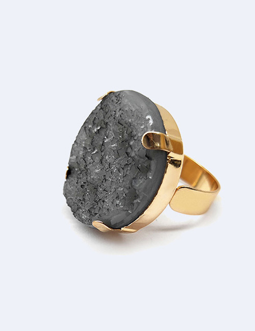 Fashion Gray Round Shape Decorated Opening Ring
