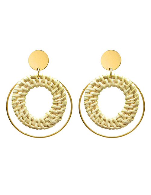 Fashion Beige Round Shape Decorated Earrings